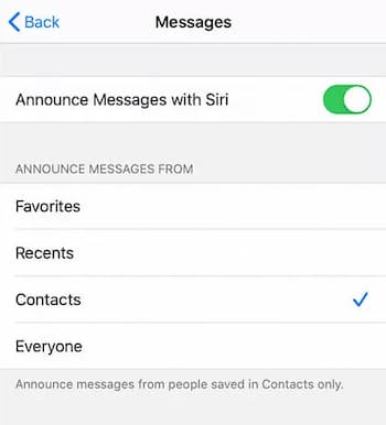 how to turn off siri reading texts