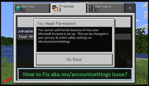 Aka ms accountsettings Minecraft
